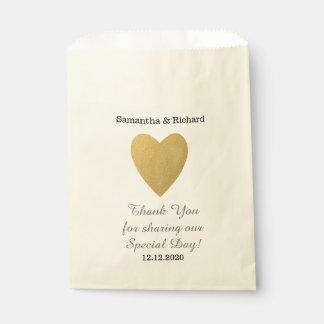 Einfache elegante Goldherz-Hochzeit danken Ihnen Geschenktütchen