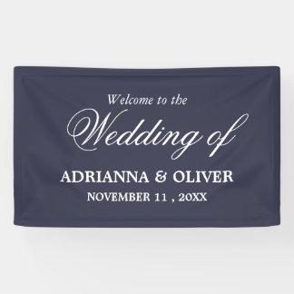 Einfache elegante Marine-Blau-Willkommens-Hochzeit Banner
