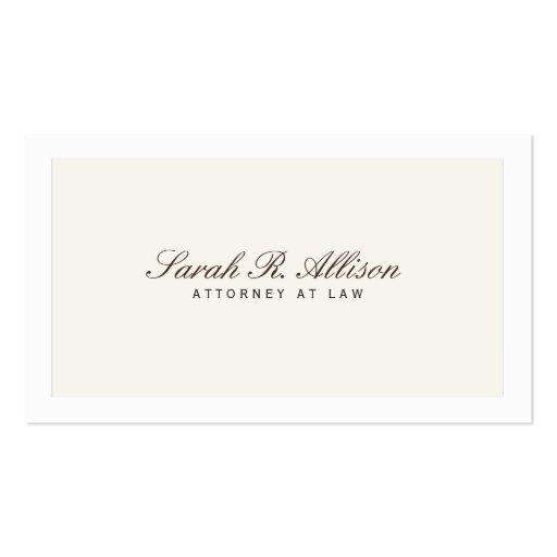 Einfache elegante Rechtsanwalts-Creme-Visitenkarte