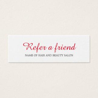 Einfache elegante saubere rote weiße mini visitenkarte