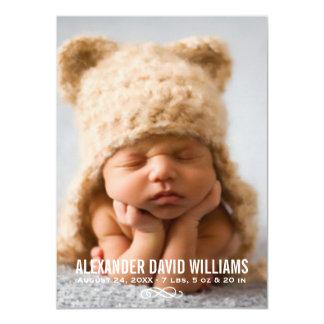 Einfache Eleganz der Foto-Geburts-Mitteilungs-| 11,4 X 15,9 Cm Einladungskarte