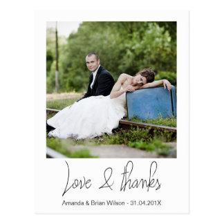 Einfache Foto-Hochzeit danken Ihnen Postkarte