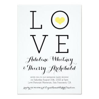 Einfache gelbe Liebe-Baby-Dusche laden ein 12,7 X 17,8 Cm Einladungskarte