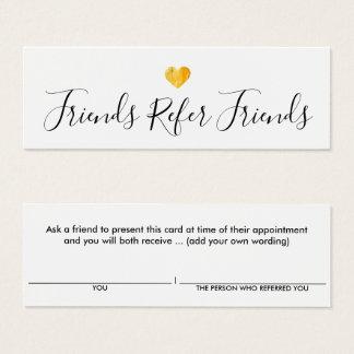 Einfache Goldherz-Kunden-Empfehlungs-Karte Mini Visitenkarte