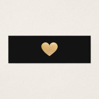 Einfache Goldherz-Schwarz-Vernetzung Mini Visitenkarte