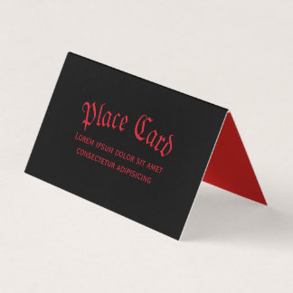 Einfache gotische rote u. schwarze Platzkarte Karte