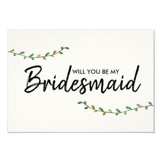 Einfache Grün-Brautjungfern-Einladung Karte