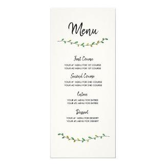 Einfache Grün-Hochzeits-Menü-Karte Karte