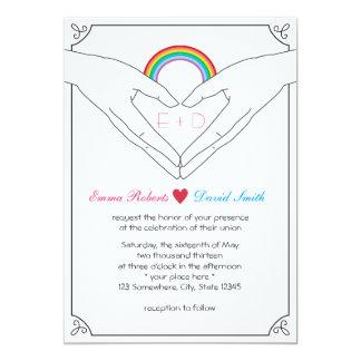Einfache Handherz-Regenbogen-Hochzeits-Einladungen