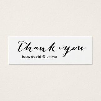 Einfache Kalligraphie danken Ihnen Mini Visitenkarte