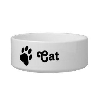 Einfache Katzen-Tatzen-Silhouette mit Text-Katze Napf