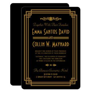 Einfache Kunst-Deko-Schwarz-Hochzeits-Einladungen Karte