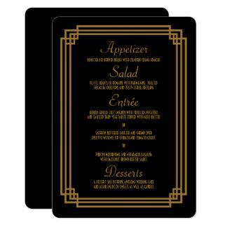 Einfache Kunst-Deko-Schwarz-Hochzeits-Menü-Karten 12,7 X 17,8 Cm Einladungskarte