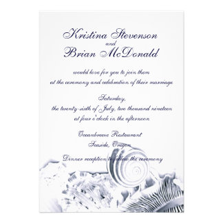 Einfache künstlerische Wedding Marine-BlauSeashell Individuelle Ankündigung