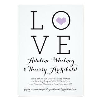 Einfache lila Liebe-Baby-Dusche laden ein 12,7 X 17,8 Cm Einladungskarte