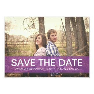 Einfache lila Save the Date Foto-Mitteilungen 12,7 X 17,8 Cm Einladungskarte