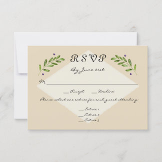 Simple Modern 3 Menu Choices RSVP Response Wedding