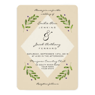 Simple Modern Botanical Casual Wedding Invitation