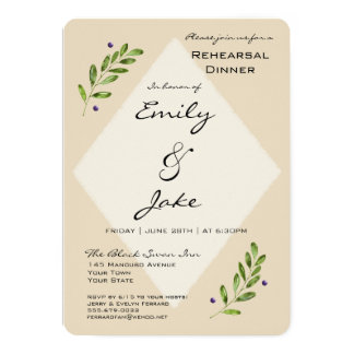Simple Modern Wedding Rehearsal Dinner Invitation