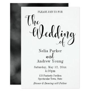 Einfache, moderne elegante schwarze Text-Hochzeit Karte