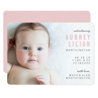 Einfache moderne Foto-Mädchen-Geburts-Mitteilungen 12,7 X 17,8 Cm Einladungskarte