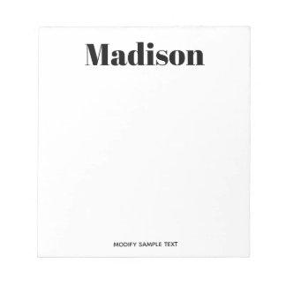 Einfache moderne Schwarz-weiße Typografie Notizblock
