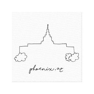 einfache moderne Skizze Tempels Phoenix Arizona Leinwanddruck