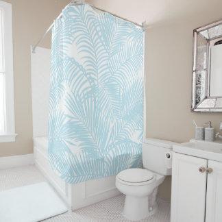 Einfache moderne tropische Palme des Babyblaus mit Duschvorhang