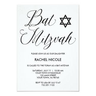 Einfache moderne Typografie-Schläger Mitzvah 12,7 X 17,8 Cm Einladungskarte