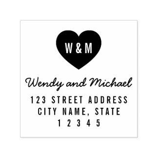 Einfache Monogramm-Herz-Paar-Hochzeits-Adresse Permastempel
