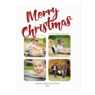 Einfache multi Foto-frohe Weihnacht-Postkarte Postkarte