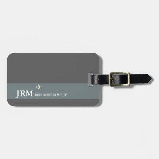 einfache, personalisierte elegante graue kofferanhänger
