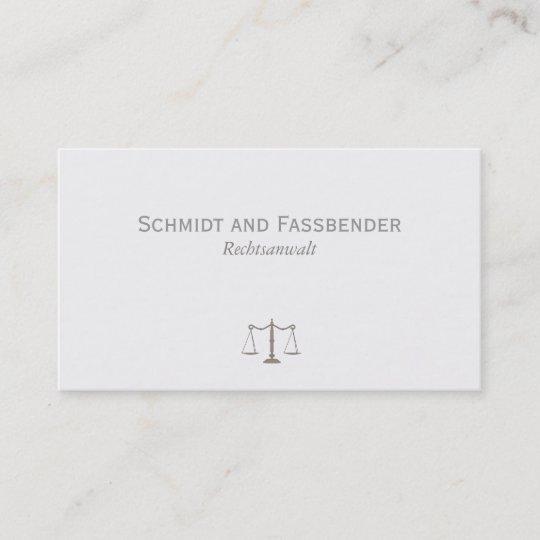 Einfache Rechtsanwalt Hellgrau Visitenkarte Zazzle De
