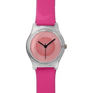 Einfache rosa Kreisuhr Armbanduhr