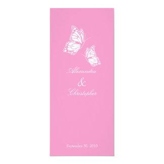 Einfache rosa Schmetterlinge, die Mitteilung 10,2 X 23,5 Cm Einladungskarte