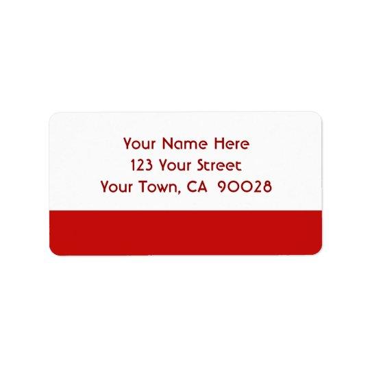 einfache rote Farbe Adress Aufkleber