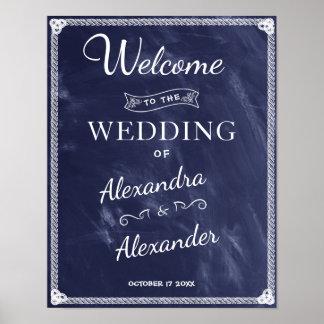 Einfache rustikale blaue Brett-Hochzeit des Poster