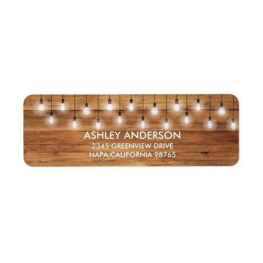 Einfache rustikale Hochzeits-Holz-Lichter Rücksende Aufkleber