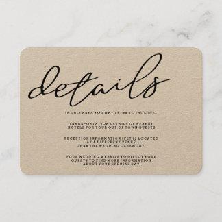 Simple Rustic Kraft Paper Details Card