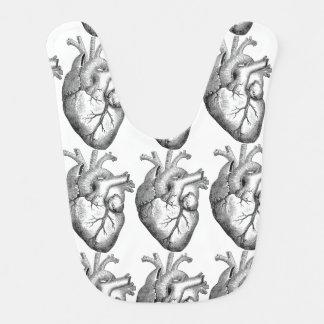 Einfache Schwarz-weiße Anatomie-Herz-Illustration Babylätzchen