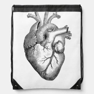 Einfache Schwarz-weiße Anatomie-Herz-Illustration Sportbeutel