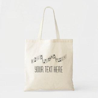 Einfache Schwarz-weiße Musiknoten-Name-Tasche Budget Stoffbeutel