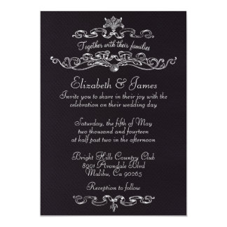 Einfache schwarze Hochzeits-Luxuseinladungen 12,7 X 17,8 Cm Einladungskarte
