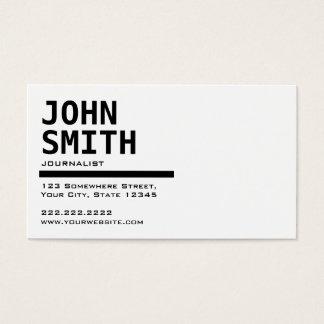 Einfache schwarze u. weiße Journalist-Visitenkarte Visitenkarte