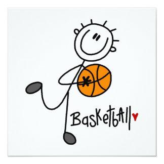 Einfache Strichmännchen-Basketball-T - Shirts und Quadratische 13,3 Cm Einladungskarte