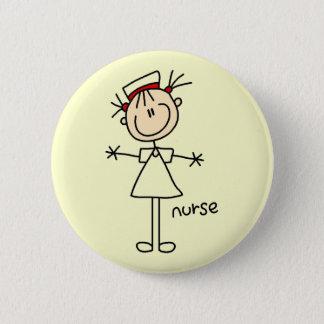 Einfache Strichmännchen-Krankenschwester-T - Runder Button 5,7 Cm