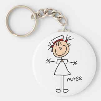 Einfache Strichmännchen-Krankenschwester-T - Standard Runder Schlüsselanhänger