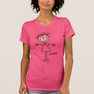 Einfache Strichmännchen-Krankenschwester-T - T-Shirt