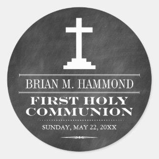 Einfache Tafel-erste heilige Kommunion Runde Aufkleber