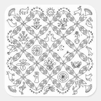 Einfache Völker - Block Sarahs Fielke des Monats Quadratischer Aufkleber